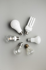 Energy saving and classic light bulbs.