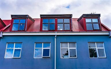 Red Blue Corrugated Iron House Street Reykjavik Iceland