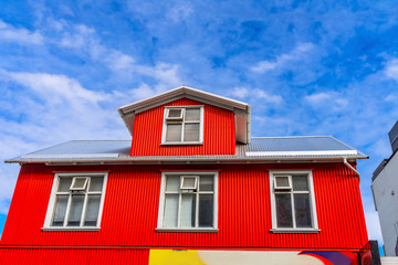 Red Corrugated Iron Store Shopping Street Reykjavik Iceland