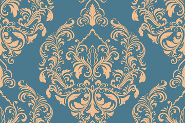 Vector damask seamless pattern element. Classical luxury old fashioned damask ornament, royal victorian seamless texture for wallpapers, textile, wrapping. Exquisite floral baroque template. Wall mural