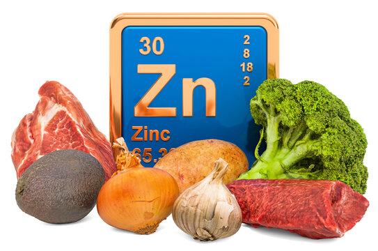 Foods Highest in Zinc, 3D rendering