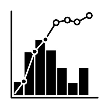 Pareto curve glyph icon. Information chart and graph. 80-20 rule visualization. Social wealth distribution presentation. Business. Silhouette symbol. Negative space. Vector isolated illustration