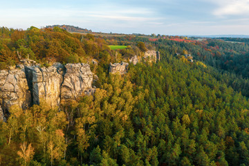 Fototapeta Bohemian Paradise. Sandstone rock formation group in Cesky raj at sunset