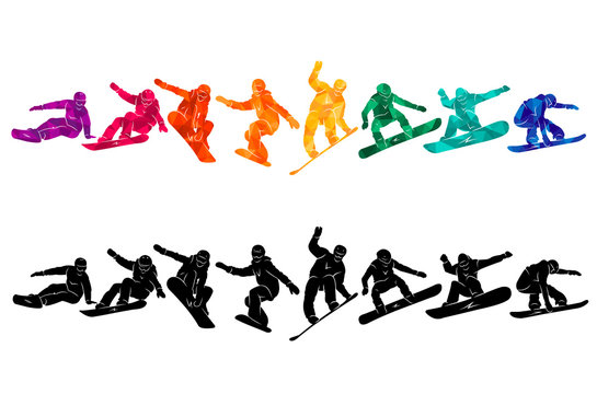 Snowboard, snowboarders, snowboarding extreme winter sport people silhouettes vector illustration, riding a board, tricks