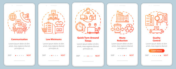 Advantages of local production onboarding mobile app page screen vector template. Walkthrough website steps with linear illustrations. Communication. UX, UI, GUI smartphone interface concept