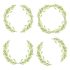 Watercolor illustration of green leaf circle frame collection