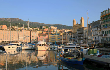 View of St Jean Baptiste cathedral and old port of Bastia ,second largest corsican city and main entry point to the island