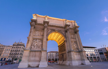 Porte Royale - triumphal arch in Marseille, France. Constructed in 1784 - 1839