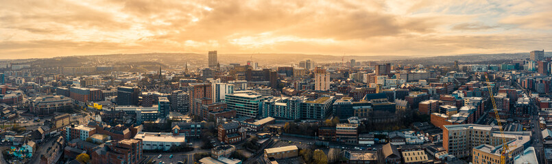 Aerial Panoramic view above Sheffield City during a cold frosty winter morning