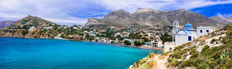 Foto auf Acrylglas Cappuccino Beauty of Kalymnos island - picturesque church overloong the sea. Dodecanese, Greece