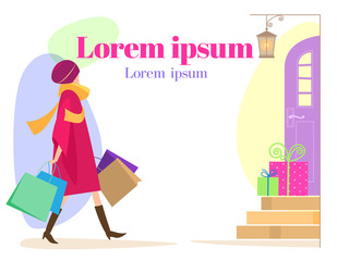 Vector blank text_Woman with gifts shopping Christmas mood