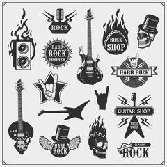 Rock'n'Roll and Hard Rock music emblems, symbols, labels and design elements. Print design for t-shirt.