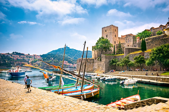 Royal Castle (The Chateau Royal de Collioure), a massive French royal castle, and the harbour in the town of Collioure, France