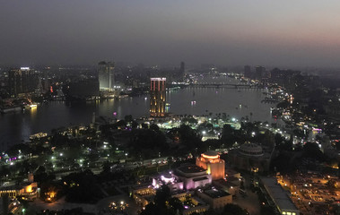 A view of the city skyline and River Nile from Cairo tower building in the capital of Cairo