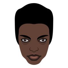 Stylized face of a beautiful black skinned girl.