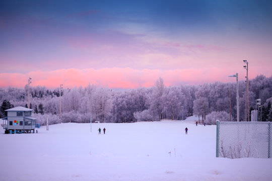 People cross country skiing in the stadium at Kincaid Park ski area or venue in Anchorage, Alaska with dramatic winter sunset