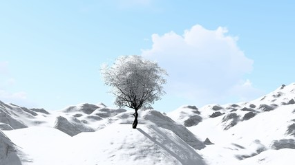 Printed kitchen splashbacks Light blue Lonely Tree in Snow Weather, Winter With Mountain, 3D Rendering