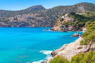 Majorca Mallorca Spain, balearic island scenery at the coastline of Calvia Mallorca. Turquoise mediterranean Sea paradise