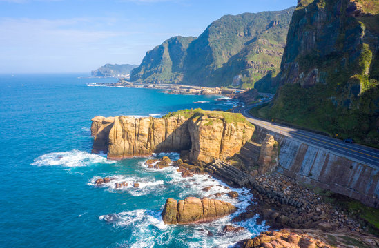 Aerial view of Nanya Rock, Taiwan.
