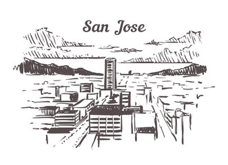 Fotomurales - San Jose skyline sketch. Mumbai hand drawn illustration isolated