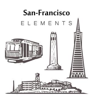 Set of hand-drawn San-Francisco buildings, elements sketch vector illustration.