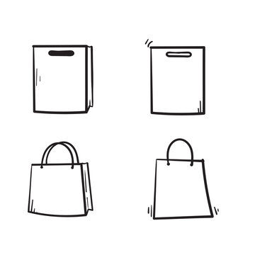 shopping bag icon with hand drawn doodle illustration vector isolated on white background