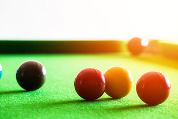 snooker ball is on the table.
