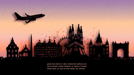 Fototapete - Watercolor of Barcelona, Spain  silhouette skyline and famous landmark. vector illustration.