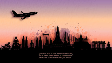 Wall Mural - Watercolor of Bangkok, Thailand  silhouette skyline and famous landmark. vector illustration.