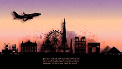 Wall Mural - Watercolor of Paris, France silhouette skyline and famous landmark. vector illustration.