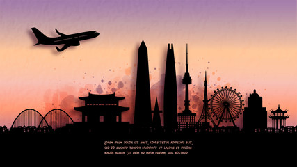 Wall Mural - Watercolor of Seoul, South Korea silhouette skyline and famous landmark. vector illustration.