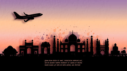 Wall Mural - Watercolor of India silhouette skyline and famous landmark. vector illustration.