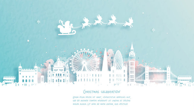 Christmas card with travel to London, England concept. Cute Santa and reindeer. World famous landmark in paper cut style vector illustration.