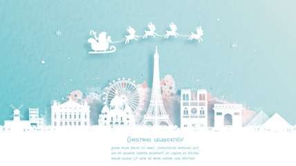 Wall Mural - Christmas card with travel to Paris, France concept. Cute Santa and reindeer. World famous landmark in paper cut style vector illustration.
