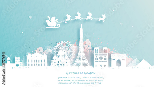 Fototapete Christmas card with travel to Paris, France concept. Cute Santa and reindeer. World famous landmark in paper cut style vector illustration.