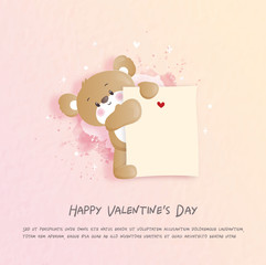 Valentines card with cute teddy bear in paper cut style vector illustration.