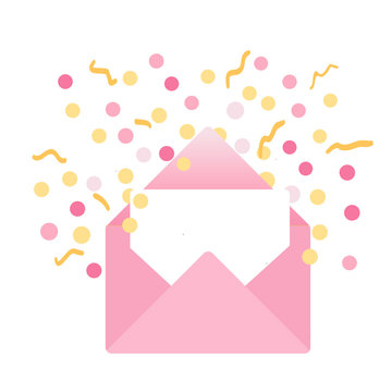 illustration of a pink envelope  with a blank card and pink and gold confetti coming out