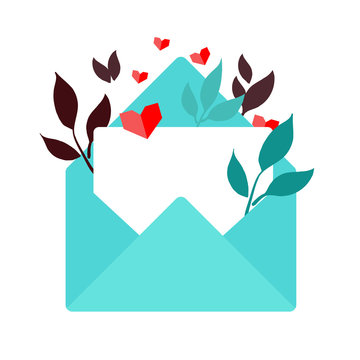 Valentine themed illustration of a teal envelope with a blank white card , floral elements and hearts