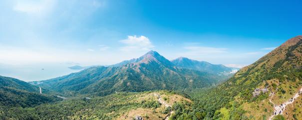 Foto auf Gartenposter Khaki panorama view of Lantau Peak in Lantau Island, Hong Kong