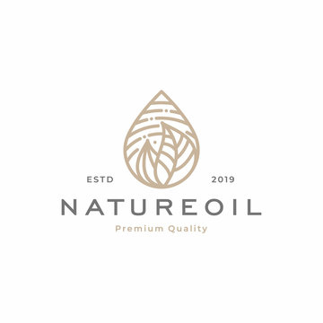nature oil / droplet tropical leaves logo template