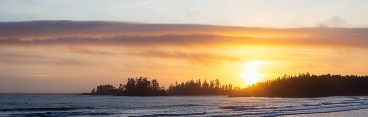 Foto auf Acrylglas Gelb Schwefelsäure Long Beach, Near Tofino and Ucluelet in Vancouver Island, BC, Canada. Beautiful panoramic view of a sandy beach on the Pacific Ocean Coast during a vibrant sunset.