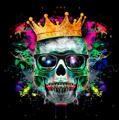 Evil skull colorful art illustration with colorful paint splatters on white background.