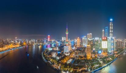 Fototapeta Panoramic aerial photographs of the night view of Lujiazuno City, Shanghai, China