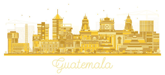Guatemala City Skyline Silhouette with Golden Buildings Isolated on White.