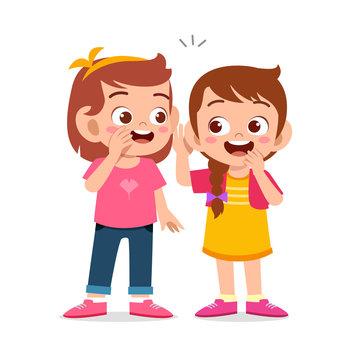 happy cute kids girls talk about secret