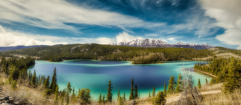 Panorama of Emerald Lake, It is located in the Yukon Territory of Canada.