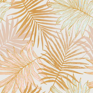 Luxurious botanical tropical leaf background in pastel pink and gold colors.