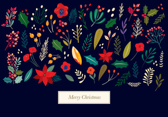 Fotomurales - Christmas vector collection of decorative floral elements.