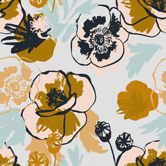 Abstract poppy flower seamless pattern in pastel golden colors