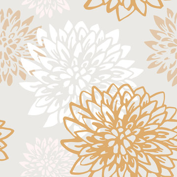 Abstract chrysanthemum flowers seamless pattern.